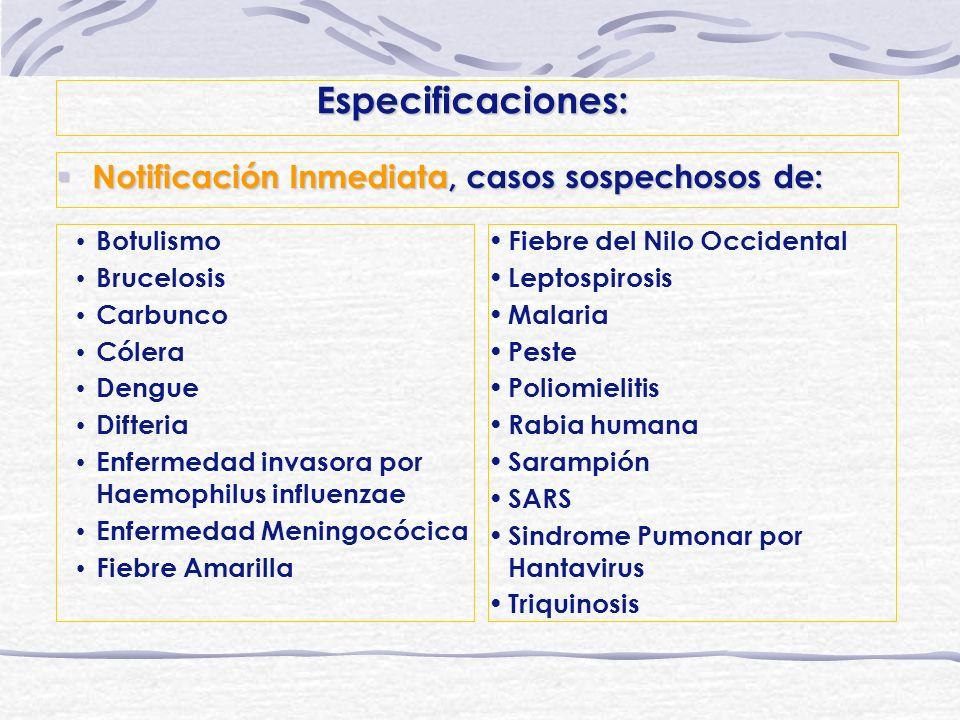 Especificaciones: Notificación Inmediata, casos sospechosos de: Notificación Inmediata, casos sospechosos de: Botulismo Brucelosis Carbunco Cólera Den