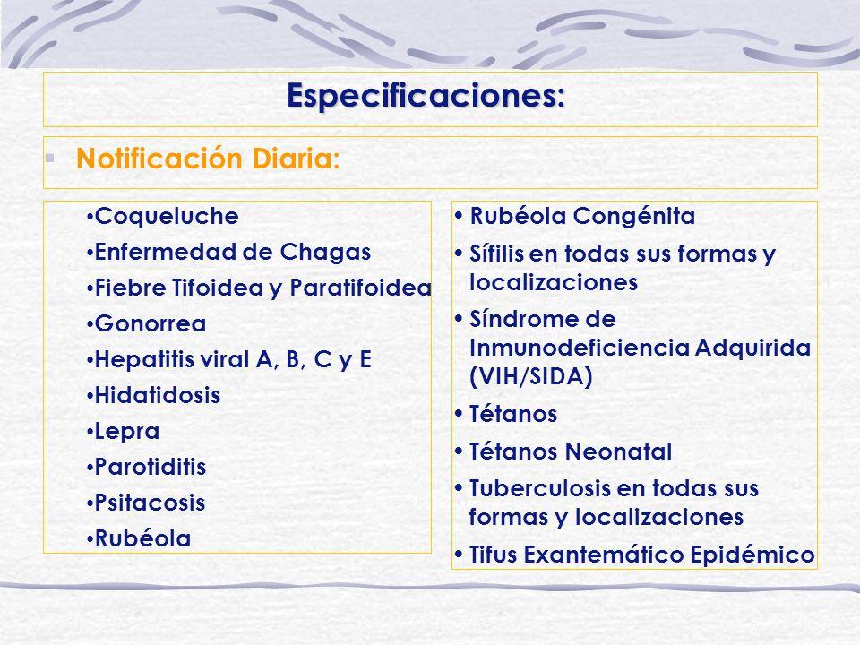 Especificaciones: Notificación Diaria: Coqueluche Enfermedad de Chagas Fiebre Tifoidea y Paratifoidea Gonorrea Hepatitis viral A, B, C y E Hidatidosis