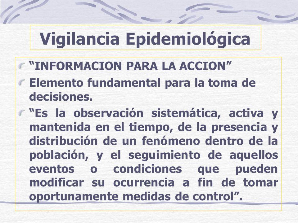 Vigilancia Epidemiológica INFORMACION PARA LA ACCION Elemento fundamental para la toma de decisiones. Es la observación sistemática, activa y mantenid