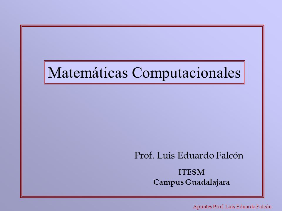 Apuntes Prof. Luis Eduardo Falcón Prof. Luis Eduardo Falcón Matemáticas Computacionales ITESM Campus Guadalajara