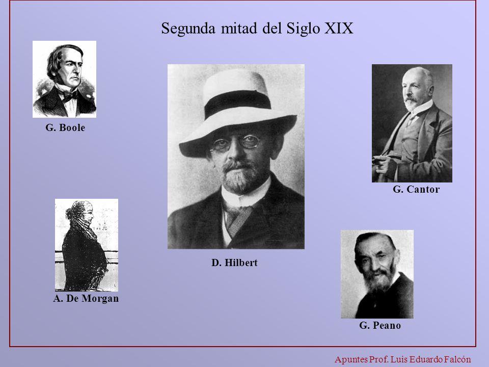 Segunda mitad del Siglo XIX G. Boole G. Cantor A. De Morgan G. Peano D. Hilbert