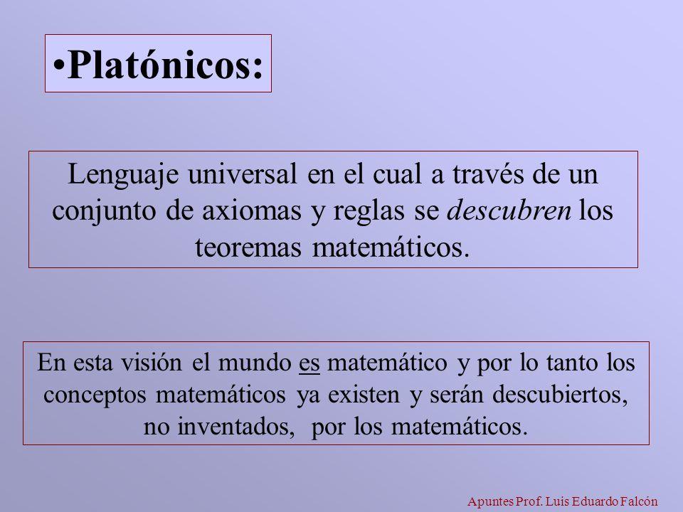 Apuntes Prof. Luis Eduardo Falcón Lenguaje universal en el cual a través de un conjunto de axiomas y reglas se descubren los teoremas matemáticos. Pla