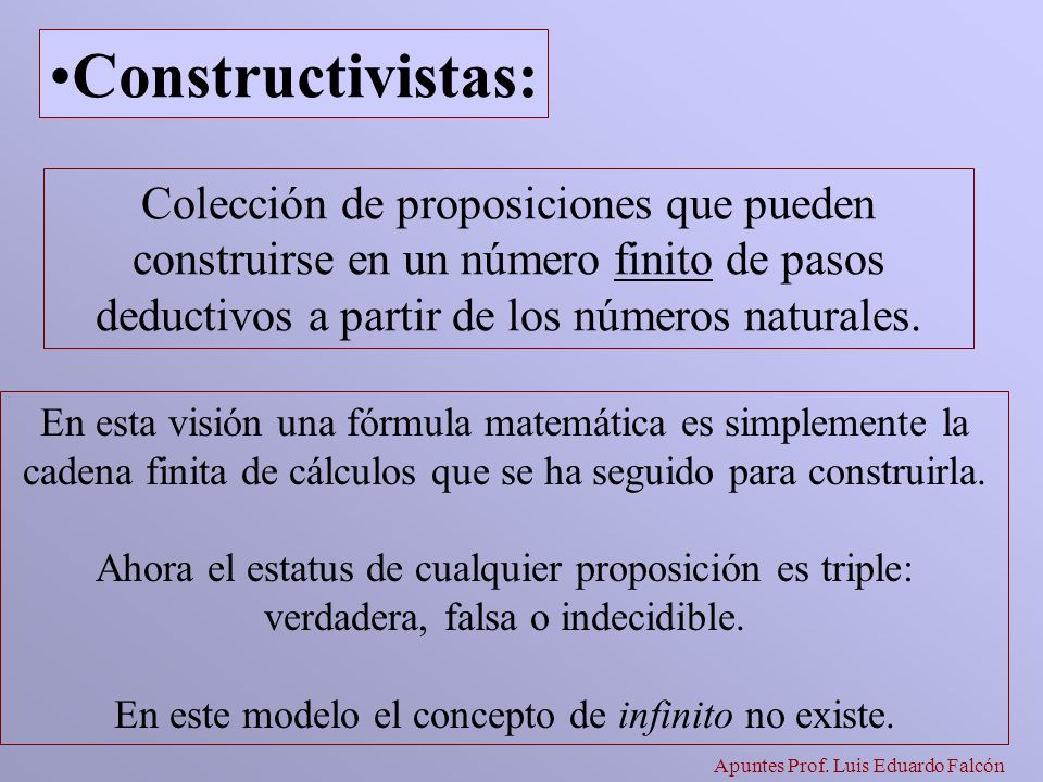 Apuntes Prof. Luis Eduardo Falcón Colección de proposiciones que pueden construirse en un número finito de pasos deductivos a partir de los números na