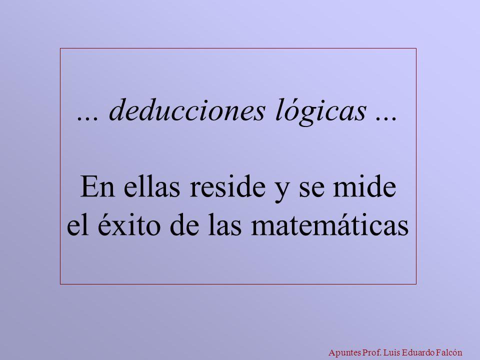 Apuntes Prof. Luis Eduardo Falcón... deducciones lógicas... En ellas reside y se mide el éxito de las matemáticas