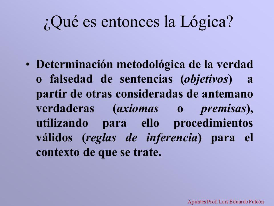 Apuntes Prof. Luis Eduardo Falcón ¿Qué es entonces la Lógica? Determinación metodológica de la verdad o falsedad de sentencias (objetivos) a partir de