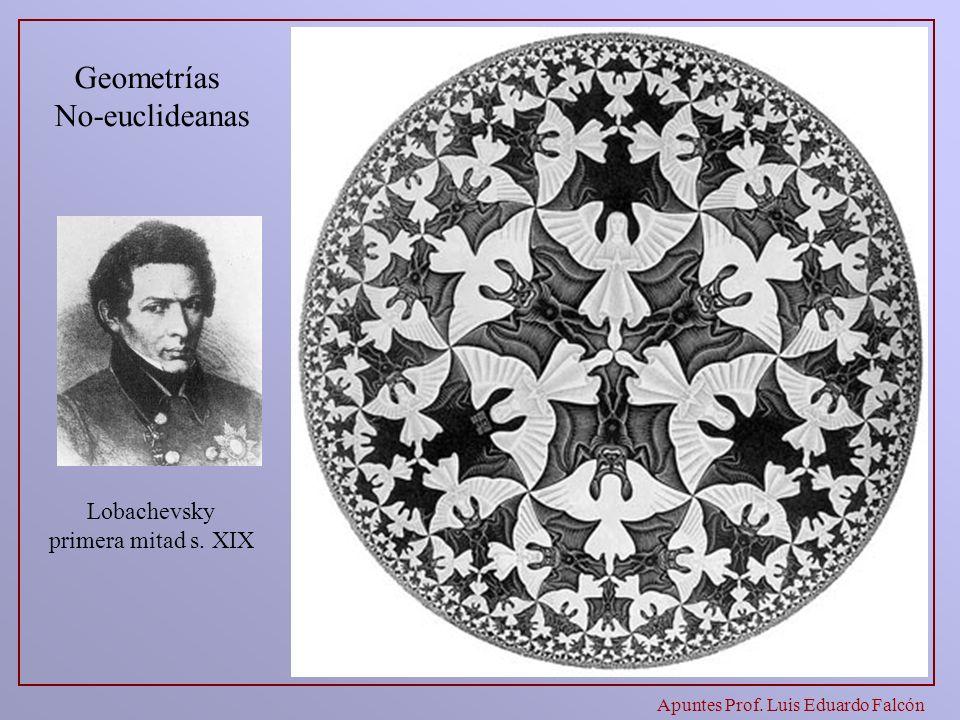 Apuntes Prof. Luis Eduardo Falcón Lobachevsky primera mitad s. XIX Geometrías No-euclideanas