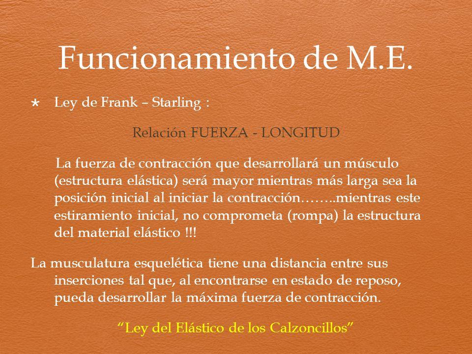 Funcionamiento de M.E. Ley de Frank – Starling : Relación FUERZA - LONGITUD La fuerza de contracción que desarrollará un músculo (estructura elástica)
