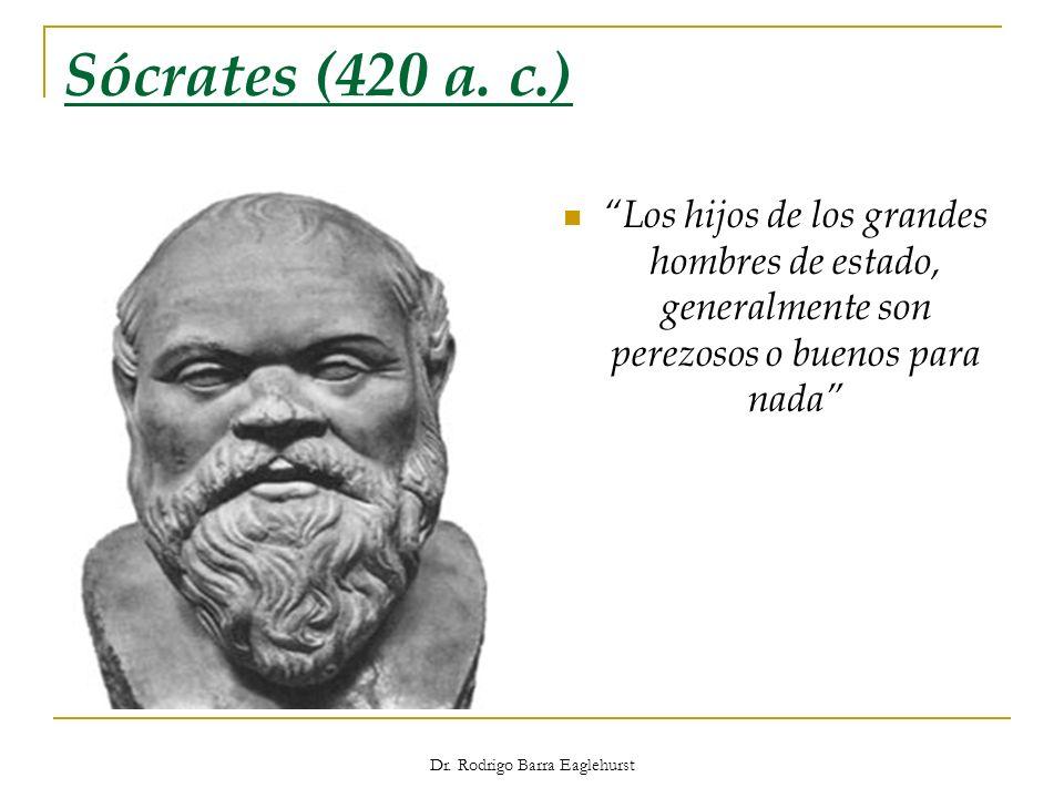 Dr. Rodrigo Barra Eaglehurst Sócrates (420 a. c.) Los hijos de los grandes hombres de estado, generalmente son perezosos o buenos para nada