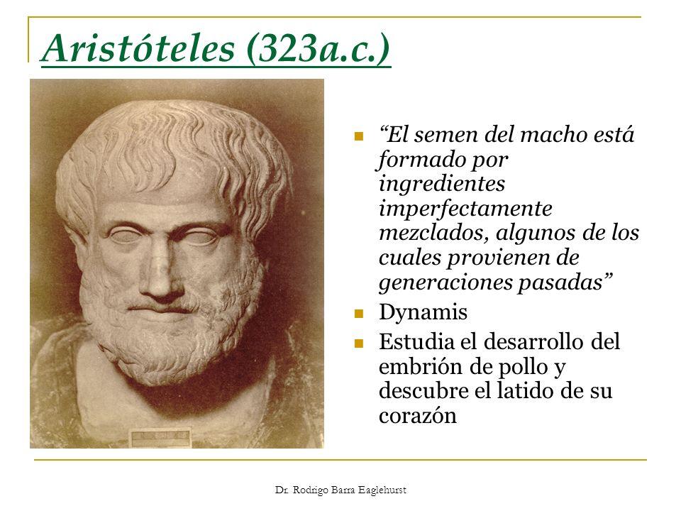 Dr. Rodrigo Barra Eaglehurst Aristóteles (323a.c.) El semen del macho está formado por ingredientes imperfectamente mezclados, algunos de los cuales p