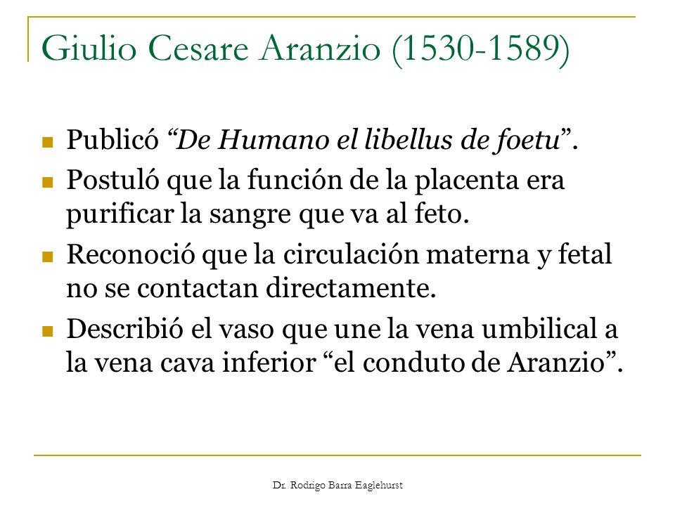 Dr. Rodrigo Barra Eaglehurst Giulio Cesare Aranzio (1530-1589) Publicó De Humano el libellus de foetu. Postuló que la función de la placenta era purif