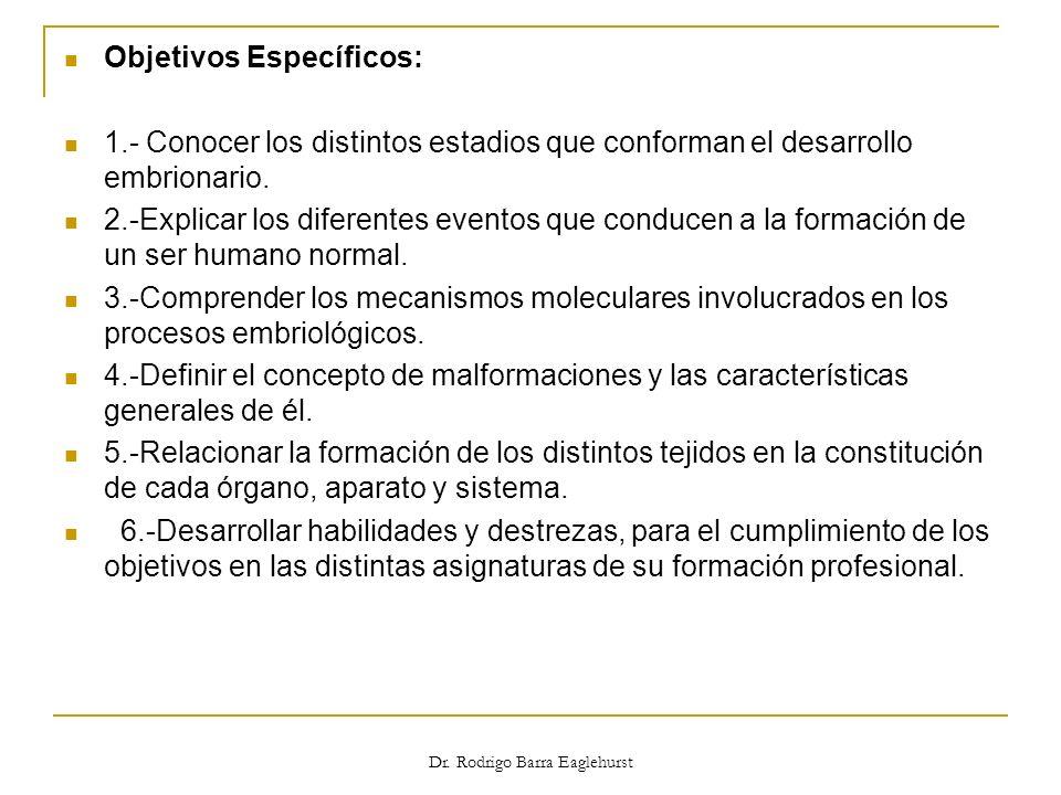 Objetivos Específicos: 1.- Conocer los distintos estadios que conforman el desarrollo embrionario. 2.-Explicar los diferentes eventos que conducen a l