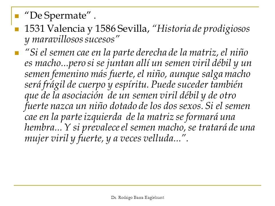 Dr. Rodrigo Barra Eaglehurst De Spermate. 1531 Valencia y 1586 Sevilla, Historia de prodigiosos y maravillosos sucesos Si el semen cae en la parte der