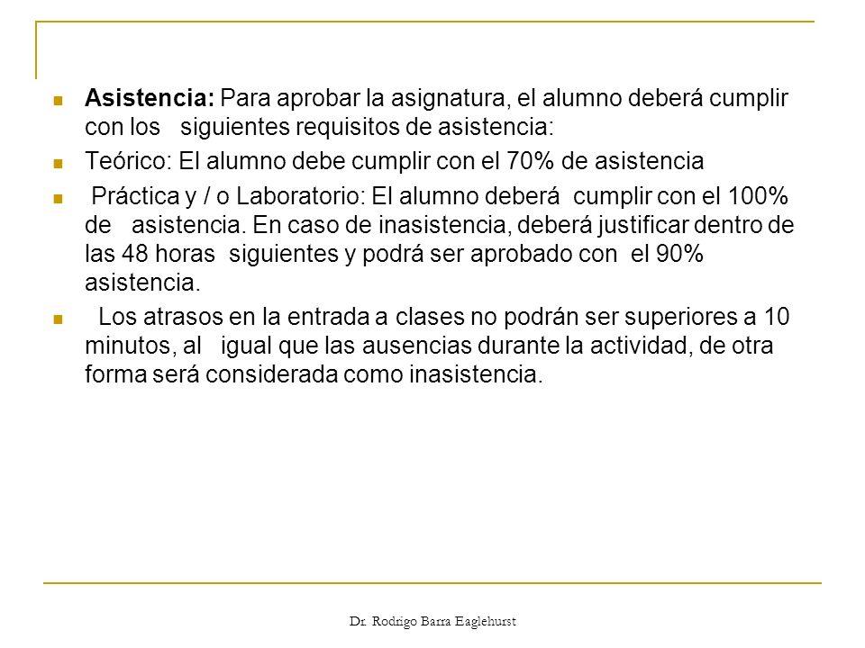 Asistencia: Para aprobar la asignatura, el alumno deberá cumplir con los siguientes requisitos de asistencia: Teórico: El alumno debe cumplir con el 7