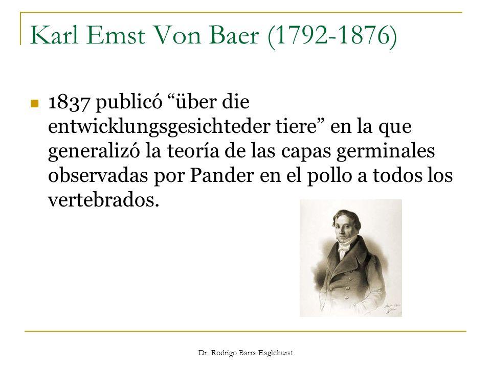 Karl Emst Von Baer (1792-1876) 1837 publicó über die entwicklungsgesichteder tiere en la que generalizó la teoría de las capas germinales observadas p