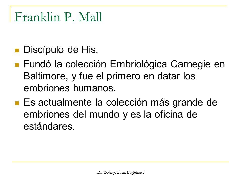 Franklin P. Mall Discípulo de His. Fundó la colección Embriológica Carnegie en Baltimore, y fue el primero en datar los embriones humanos. Es actualme