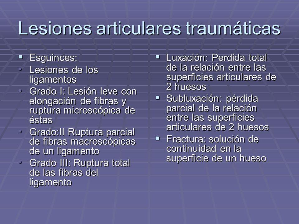 Lesiones articulares traumáticas Esguinces: Esguinces: Lesiones de los ligamentos Lesiones de los ligamentos Grado I: Lesión leve con elongación de fi