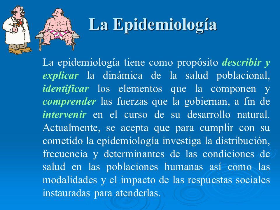 La Epidemiología La Epidemiología La epidemiología tiene como propósito describir y explicar la dinámica de la salud poblacional, identificar los elem