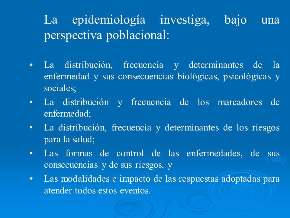 La epidemiología investiga, bajo una perspectiva poblacional: La distribución, frecuencia y determinantes de la enfermedad y sus consecuencias biológi