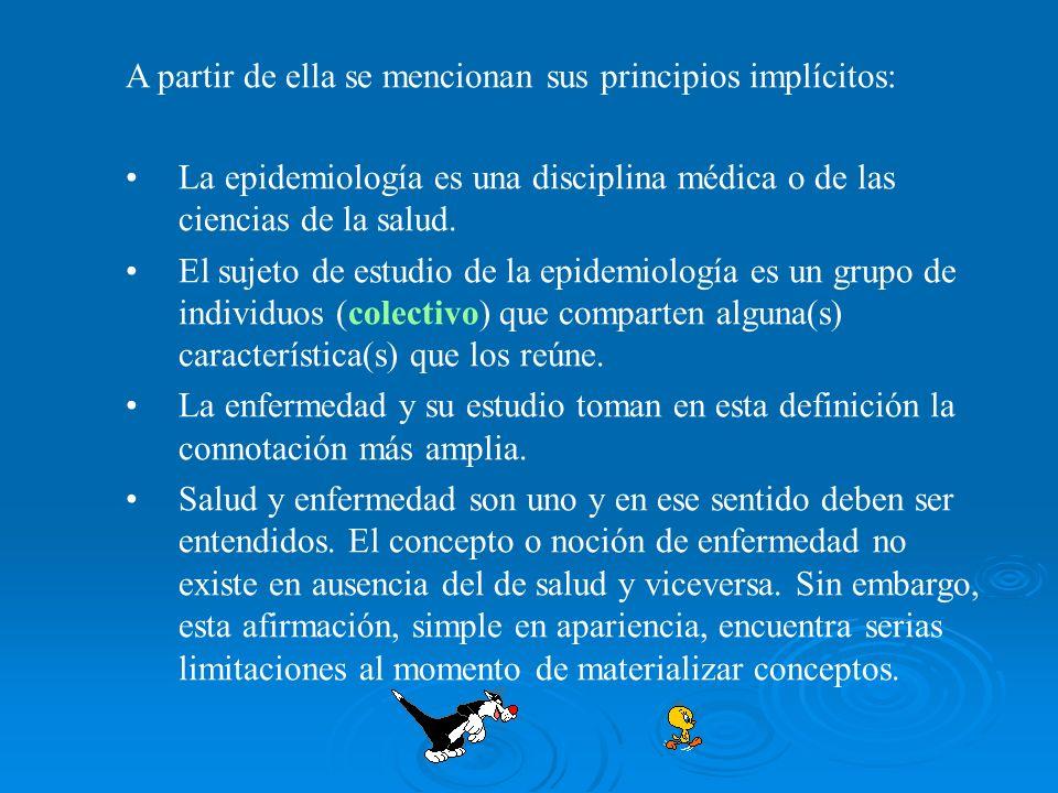A partir de ella se mencionan sus principios implícitos: La epidemiología es una disciplina médica o de las ciencias de la salud. El sujeto de estudio