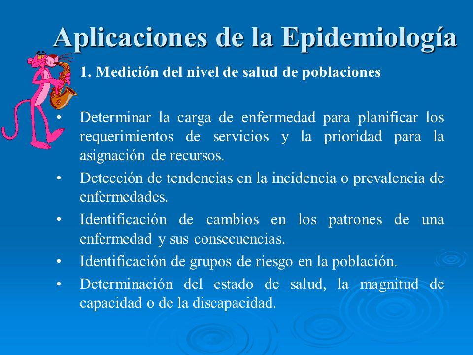 1. Medición del nivel de salud de poblaciones Determinar la carga de enfermedad para planificar los requerimientos de servicios y la prioridad para la