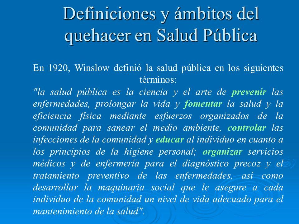 Definiciones y ámbitos del quehacer en Salud Pública En 1920, Winslow definió la salud pública en los siguientes términos: