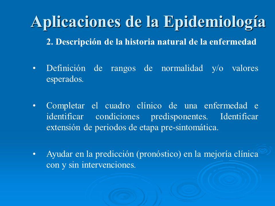 2. Descripción de la historia natural de la enfermedad Definición de rangos de normalidad y/o valores esperados. Completar el cuadro clínico de una en