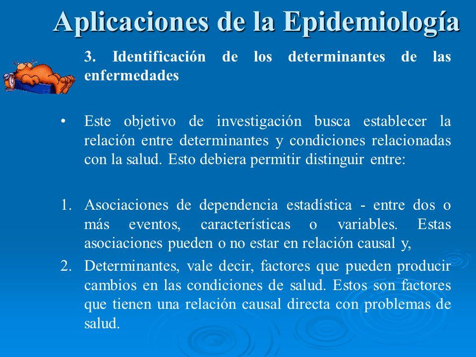 3. Identificación de los determinantes de las enfermedades Este objetivo de investigación busca establecer la relación entre determinantes y condicion