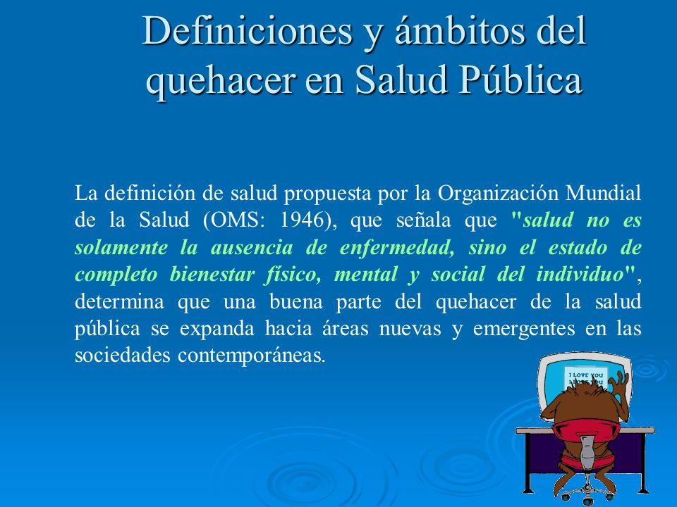 Definiciones y ámbitos del quehacer en Salud Pública La definición de salud propuesta por la Organización Mundial de la Salud (OMS: 1946), que señala