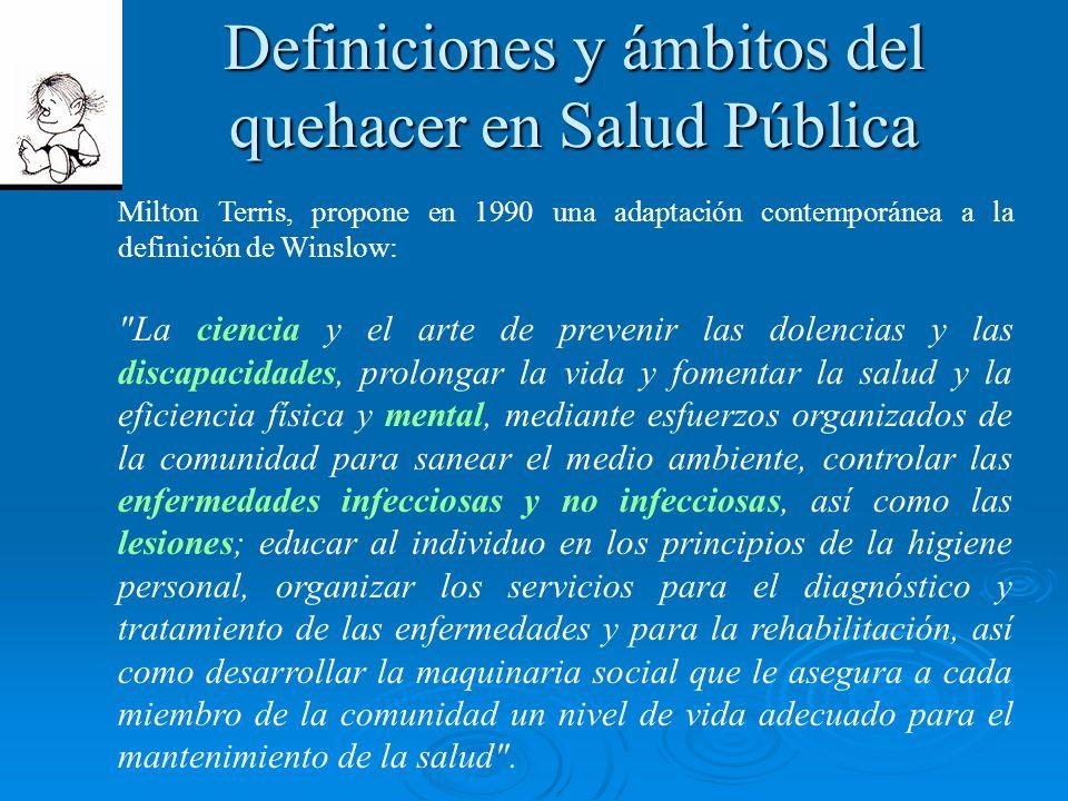 Definiciones y ámbitos del quehacer en Salud Pública Milton Terris, propone en 1990 una adaptación contemporánea a la definición de Winslow: