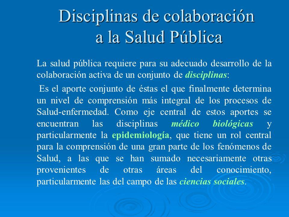 La salud pública requiere para su adecuado desarrollo de la colaboración activa de un conjunto de disciplinas: Es el aporte conjunto de éstas el que f