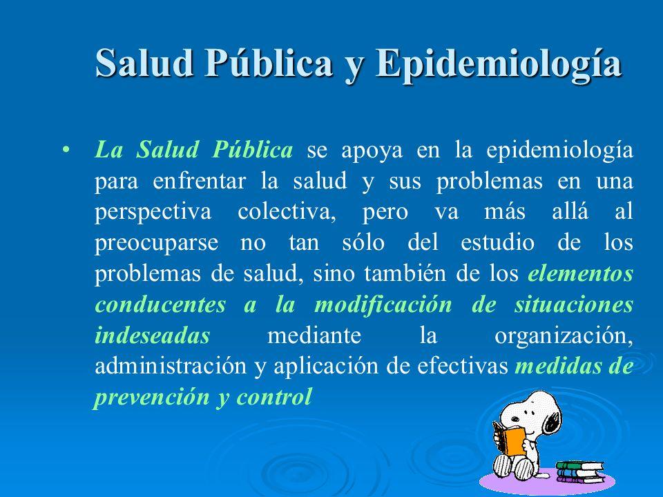 Salud Pública y Epidemiología Salud Pública y Epidemiología La Salud Pública se apoya en la epidemiología para enfrentar la salud y sus problemas en u