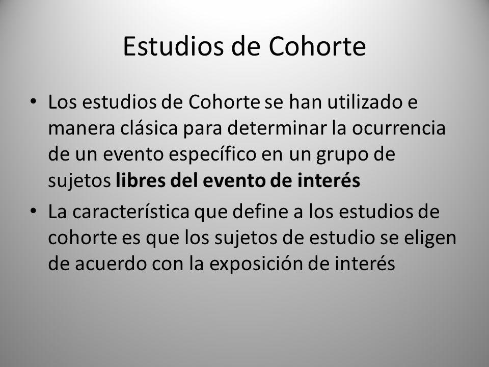 Estudios de Cohorte Los estudios de Cohorte se han utilizado e manera clásica para determinar la ocurrencia de un evento específico en un grupo de suj