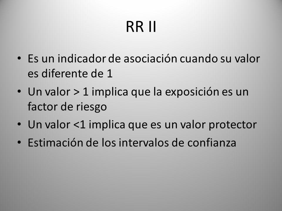 RR II Es un indicador de asociación cuando su valor es diferente de 1 Un valor > 1 implica que la exposición es un factor de riesgo Un valor <1 implica que es un valor protector Estimación de los intervalos de confianza