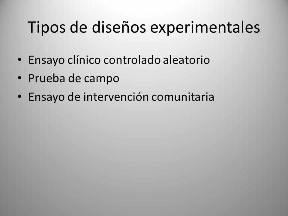 Tipos de diseños experimentales Ensayo clínico controlado aleatorio Prueba de campo Ensayo de intervención comunitaria