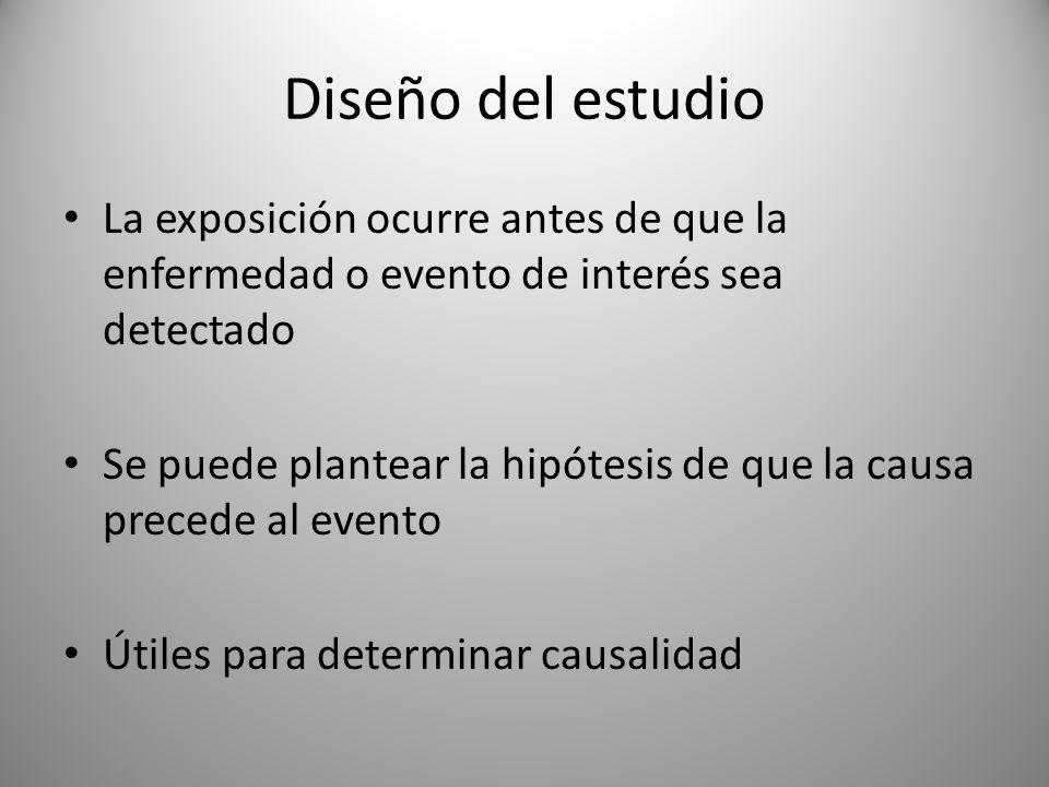 Diseño del estudio La exposición ocurre antes de que la enfermedad o evento de interés sea detectado Se puede plantear la hipótesis de que la causa pr