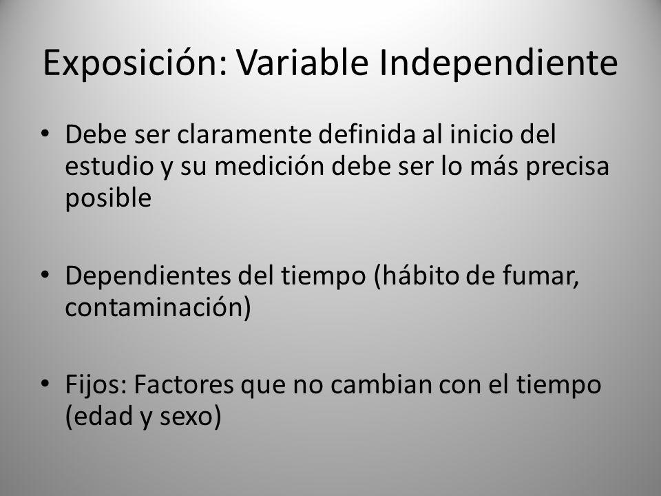 Exposición: Variable Independiente Debe ser claramente definida al inicio del estudio y su medición debe ser lo más precisa posible Dependientes del tiempo (hábito de fumar, contaminación) Fijos: Factores que no cambian con el tiempo (edad y sexo)