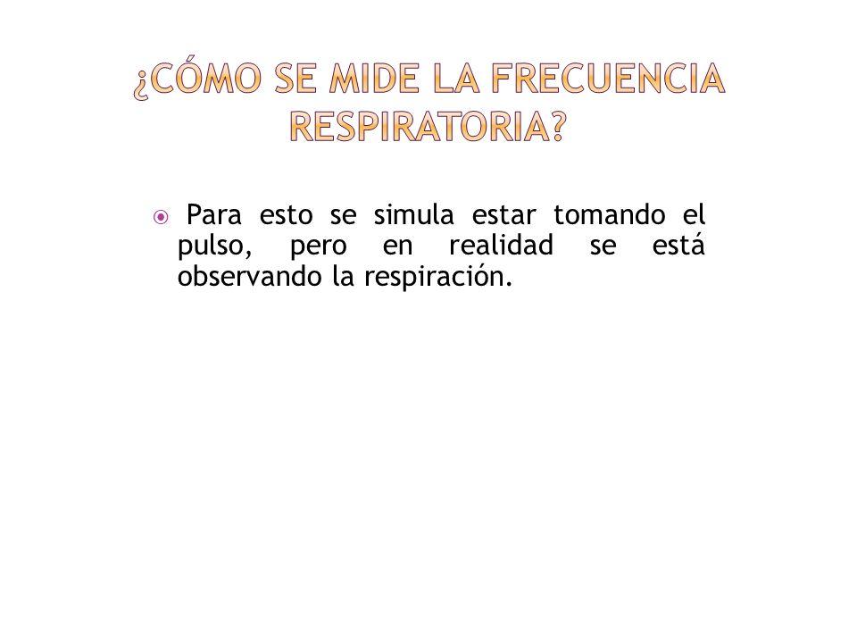 Cuando se cuenta la frecuencia respiratoria, conviene que la persona no se de cuenta.