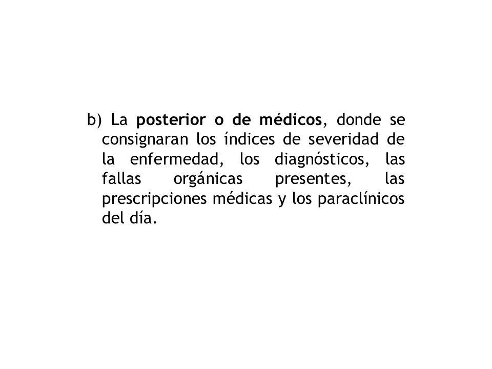 a) La hoja frontal o de enfermería, donde este personal anotará la ficha de identificación del paciente, sus accesos invasivos, las notas de enfermerí