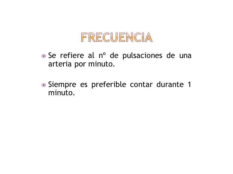 Al palpar el pulso consideraremos de manera sucesiva su: a) frecuencia b) ritmo c) amplitud e) dicrotismo f) tensión o dureza