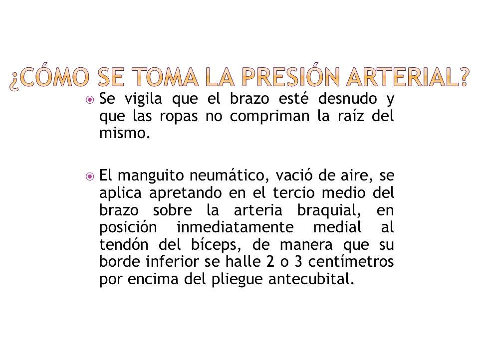 La tensión arterial se suele medir en el brazo del paciente. El enfermo se coloca en decúbito dorsal sobre la cama o sentado con el brazo algo flexion