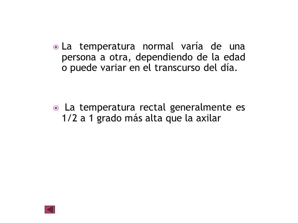 Temperatura normal aproximada por edad: Niños 0-3 meses: (37,44° C) Niños 3-6 meses: (37,50° C) Niños 6 meses-1 año: (37,61° C) Niños 1 a 3 años: (37,