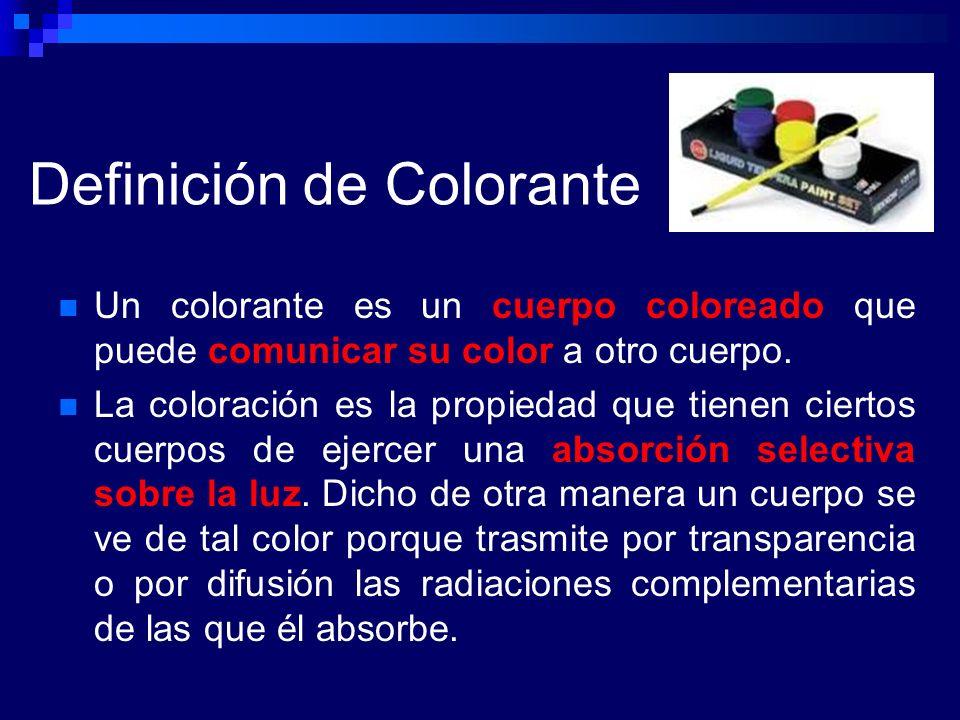 Definición de Colorante Un colorante es un cuerpo coloreado que puede comunicar su color a otro cuerpo. La coloración es la propiedad que tienen ciert