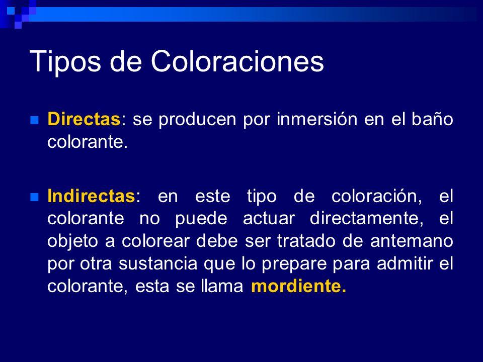 Tipos de Coloraciones Directas: se producen por inmersión en el baño colorante. Indirectas: en este tipo de coloración, el colorante no puede actuar d