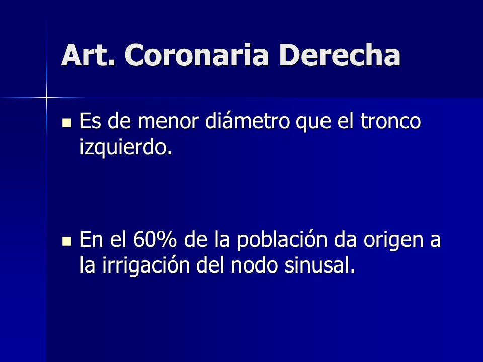 Art. Coronaria Derecha Es de menor diámetro que el tronco izquierdo. Es de menor diámetro que el tronco izquierdo. En el 60% de la población da origen