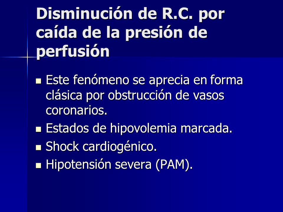 Disminución de R.C. por caída de la presión de perfusión Este fenómeno se aprecia en forma clásica por obstrucción de vasos coronarios. Este fenómeno