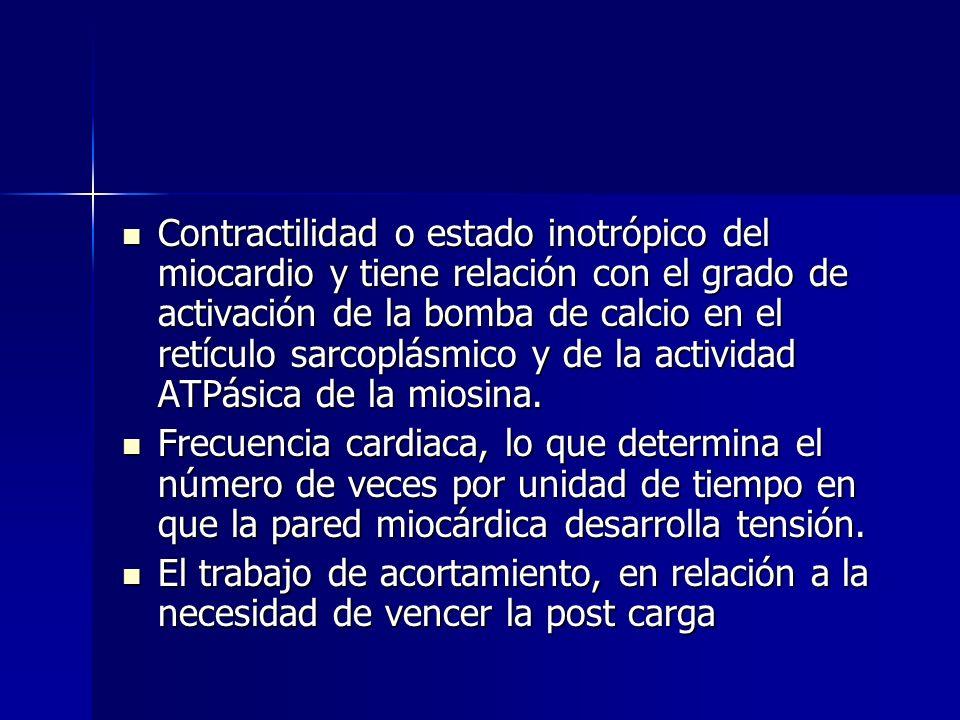 Contractilidad o estado inotrópico del miocardio y tiene relación con el grado de activación de la bomba de calcio en el retículo sarcoplásmico y de l