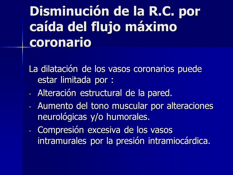 Disminución de la R.C. por caída del flujo máximo coronario La dilatación de los vasos coronarios puede estar limitada por : - Alteración estructural