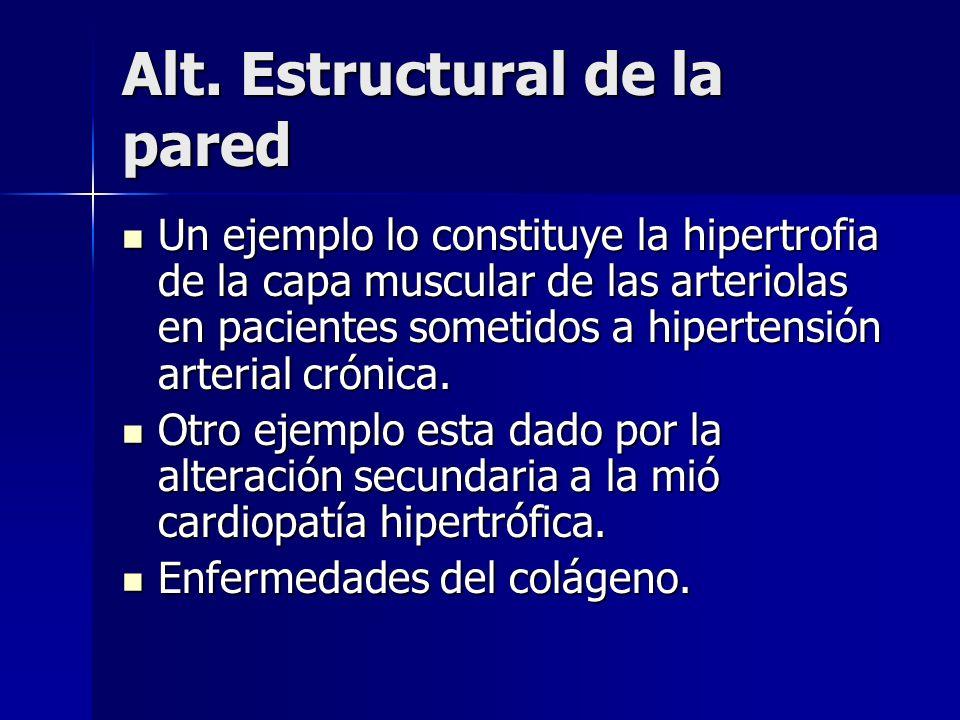 Alt. Estructural de la pared Un ejemplo lo constituye la hipertrofia de la capa muscular de las arteriolas en pacientes sometidos a hipertensión arter