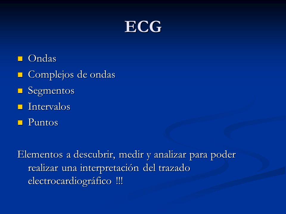 ECG Ondas Ondas Complejos de ondas Complejos de ondas Segmentos Segmentos Intervalos Intervalos Puntos Puntos Elementos a descubrir, medir y analizar
