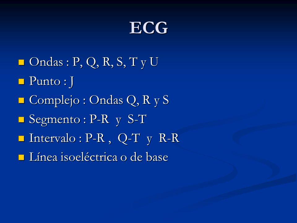 ECG Ondas : P, Q, R, S, T y U Ondas : P, Q, R, S, T y U Punto : J Punto : J Complejo : Ondas Q, R y S Complejo : Ondas Q, R y S Segmento : P-R y S-T S